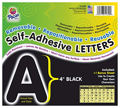 Pacon PAC51620 Self-Adhesive Letters - Removable, Repositionable, Reusable, 4