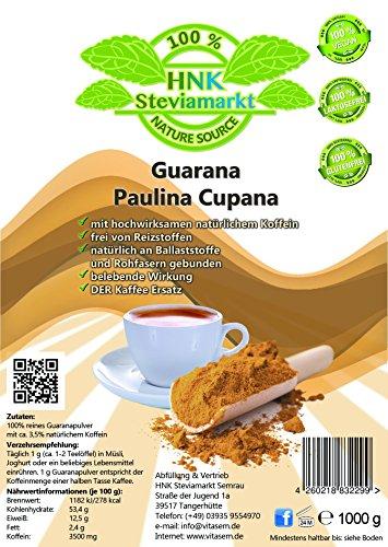Puro guaraná Paulina cupana cafeína polvo Pur   Energy Drink polvo   100% Natural   sin Química aditivos, 1er Pack (1x kg)