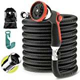 Expandable Garden Hose - Water Hose with Solid Brass Fittings - Flexible Lightweight Expanding Garden Hose - Strongest Durable Stretch Fabric - Hose Spray Nozzle - no Kink Garden Hoses black (50 FT)