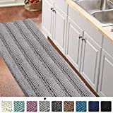 Gray Kitchen Runner Chenille Shag Area Rug Non Slip Backing for Kitchen Floor Runner Rug with Water Absorbent Bath Room Mat for Kitchen/Tub/Living Room, 59' X 20', Dove Gray, Striped Pattern