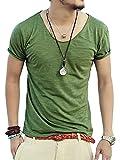 [ミックスリミテッド] Tシャツ メンズ コットン Uネック スラブ天竺 ネック タイト ティーシャツ mix0001-GRN-S