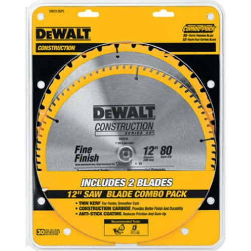 DEWALT 12-Inch Miter Saw Blade, Crosscutting, Tungsten Carbide, 80-Tooth, 2-Pack (DW3128P5)