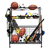 Kinghouse Garage Sports Equipment Organizer, Ball Storage Rack, Garage Ball Storage, Sports Gear Storage, Garage Organizer with Baskets and Hooks, Rolling Sports Ball Storage Cart, Black, Steel