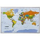 Carte du monde de mur XXL - y compris 12 drapeaux de marqueur - liège - 90...