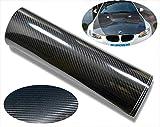CVANU Self Adhesive Black 5D Carbon Fiber Vinyl Wrap Film Car Wrapping Vinyl Sticker for All Car_12\\x24\\inch