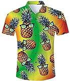 TUONROAD Camisas Estampadas Hombre 3D Piña Funny Camisas de Playa Manga Corta Verano Casual Camisas Hawaiana M