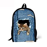 ThiKin Cute Cat Dog Animal Blue School Backpack For Boys Girls School Book Bags - FBA