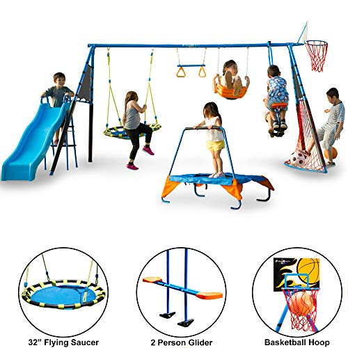 FITNESS REALITY KIDS The Ultimate 8 Station Sports Series Metal Swing Set