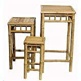 3 Piece Square Nesting Bamboo Stool Set