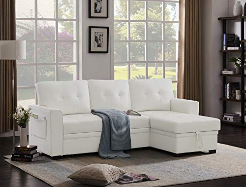 Infini Furnishings 84' Wide Faux Leather Reversible Sleeper Sectional Sofa Storage Chaise, Pocket Arm Sofabed, White