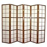 PEGANE Paravent Japonais Shoji en Bois Brun de 6 pans L261 x H178,6 cm