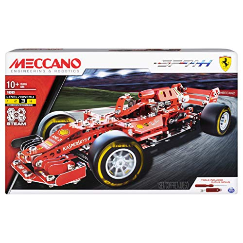 Meccano Ferrari Grand Prix Racer STEAM Building Kit with Poseable Steering, for Ages 10 and Up (Styles Vary)