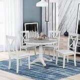 Harper & Bright Designs Dining Table Set - 5 Piece Round Dining Set with 4 Chairs Wood Dining Table Set