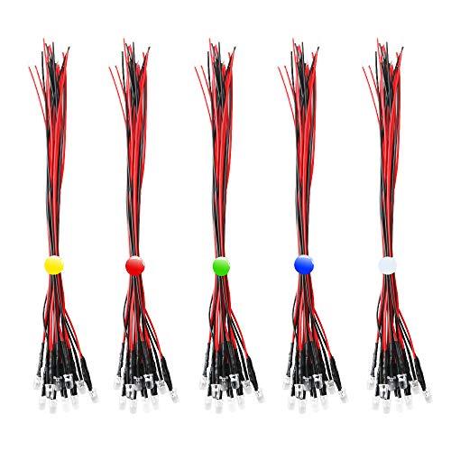 RUNCCI-YUN 50Pcs Diodo ad emissione luminosa LED, 12v Pre wired,5 colori