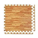 Joyleah Wood Grain Floor Mats Foam 24 X 24 inch Interlocking Foam Mats 1/2 inch Thick Foam Floor Tiles Exercise Puzzle Mats for Exercise Gym, 6 Piece (Wood)