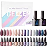 Gellen Gel Nail Polish Kit 16 Colors With Top Base Coat - Popular Nude Grays Colors Gel Collection, Pure Sparkles Glitters UV Nail Gel Colors Manicure Set
