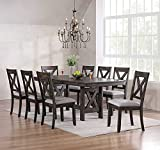 Kings Brand Furniture - Lewiston 9-Piece Brown Wood Dining Room Set, Table & 8 Chairs