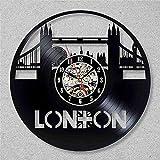 Barbu Dragon Night Night London City Rétro Vinyle Horloge Murale Design Moderne Scenic 3D Décoration I Love London Vinyle Record Horloge Horloge Murale Décoration de La Maison Lampe De Table Citron