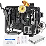 KOSIN Survival Gear and Equipment,18 in 1 Emergency Survival Kit, Professional Defense Tool with Knife Blanket Bracelets Backpack Temperature Compass Fire Starter for Adventure Outdoors Sport