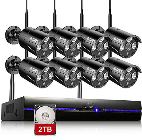 REIGY - Kit de cámaras de vigilancia Wifi para exteriores de 3MP con disco duro de 2TB, cámara de vigilancia impermeable de 8 canales + 8x1296P IP66, cámara inalámbrica, grabación de audio, visión nocturna, sensor de movimiento, color negro