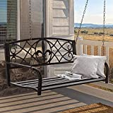 Hanging Bench Porch Swing 2-Person Fleur-de-Lis Accent Outdoor Patio Bench w/Weather-Resistant Steel & Chains, 400lb Weight Capacity Patio Furniture Metal Swing Bench for Yard, Deck, Backyard