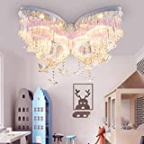 LITFAD Modern Art Deco Ceiling Light 31.5' Wide Butterfly Shaped Crystal Raindrop Discoloration Pendant Light LED Flush Mount Fixture for Girls Room,Kids Bedroom,Study Room