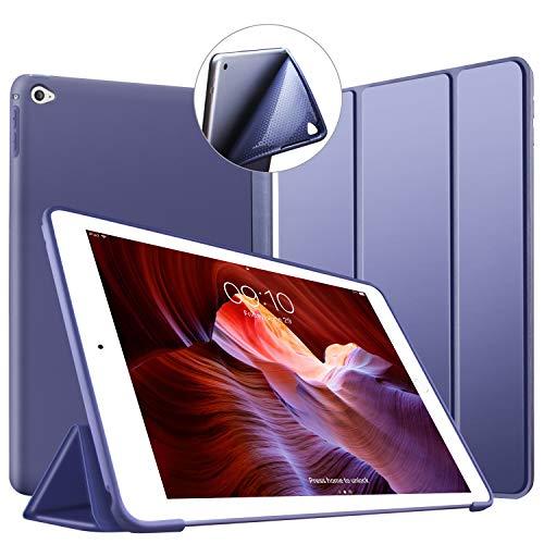 Custodia per iPad Air 2, VAGHVEO Ultra Sottile e Leggere [Auto Svegliati/Sonno] con Protezione Elevato Morbido TPU Soft Silicone Smart Cover Case per Apple iPad Air 2 (Modelli A1566 A1567), Blu Marino