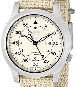 SEIKO Men's SNK803 SEIKO 5 Automatic Watch with Beige Canvas Strap 35