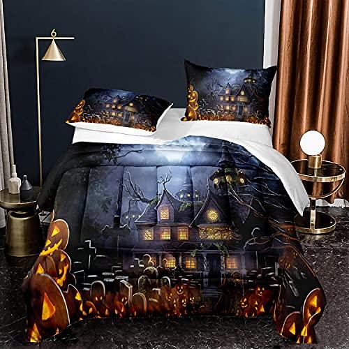 Halloween Castle Cemetery Bedding Set Queen Size Pumpkin Lanterns Comforter Horror Theme Quilt Duvet Cover for Boys Teens 1 Comforter + 2 Pillow Cases