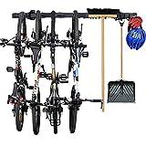 Grepatio Bike Storage Rack Garage Adjustable Wall Mount Organizer Bike Rack, Heavy Duty Tools Hanger with 8 Hooks, Holds Bicycles, Shovels, Rakes, Brooms, Cords, Ropes (46 inch)