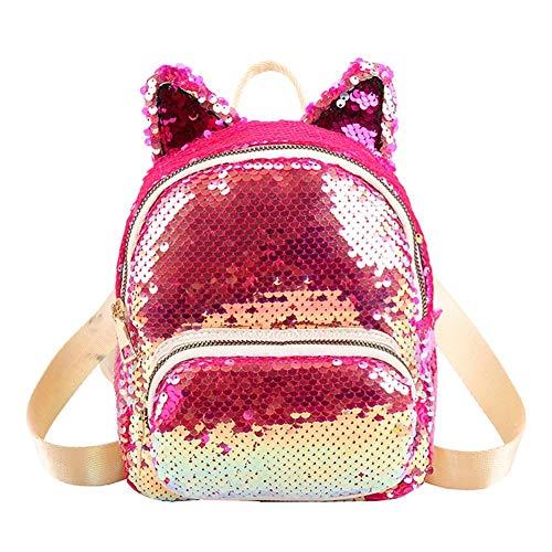 Ocitop lindo lantejoulas orelha de gato mochilas femininas ombro bolsas escolares pequena knapsack, rosa, 200*170*90 mm