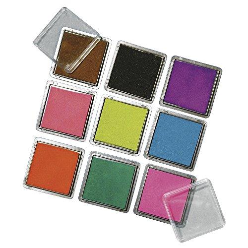 RAYHER Stempelkissen Set mit 9 Farben, je 3,5 x 3,5 cm