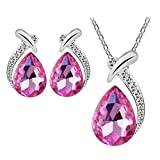 Sannysis Women Crystal Pendant Silver Plated Chain Necklace Stud Earring Jewelry Set (Hot Pink) (Misc.)