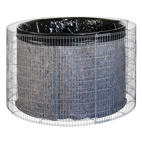 bellissa Gabionen-Wasserfass - 95560 - Wassertonne für den Garten - Gartenteich Tonne Bausatz inkl. Teichfolie und Trennvlies - Durchmesser 130/110 cm, Höhe 80 cm