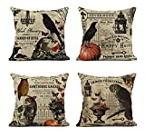 ArtSocket Set of 4 Linen Throw Pillow Covers Happy Halloween Pumpkin Fall Thanksgiving Decorative Pillow Cases Home Decor Square 18x18 inches Pillowcases