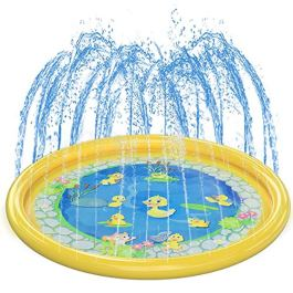 Kids Splash Pad Water Play Mat, Girl & Boy Summer Outdoor/Garden/Beach Burst Sprinkler Pad & Sprinkle Wading Pool | 68in Water Spray Mat Toys Games For Baby/Children/Toddler/Pets Activities