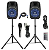 Pair Alphasonik All-in-one 15' Powered 2500W PRO DJ Amplified Loud Speakers with Bluetooth USB SD Card AUX MP3 FM Radio PA System LED Lights Karaoke Mic Guitar Amp 2 Tripod Stands Cable and Microphone