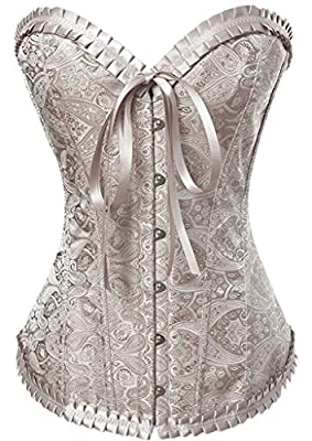 """Front Closure: Busk. Strong Corset Lacing Back: Lace Up. 4.5"""" Modesty Panel at the back to adjust the fitting. Comes with matching G-String. Boning: 2 Steel bars adjacent to the front busk, 12 Strong Supporting Plastic Bones. Corset Length in Inches:..."""