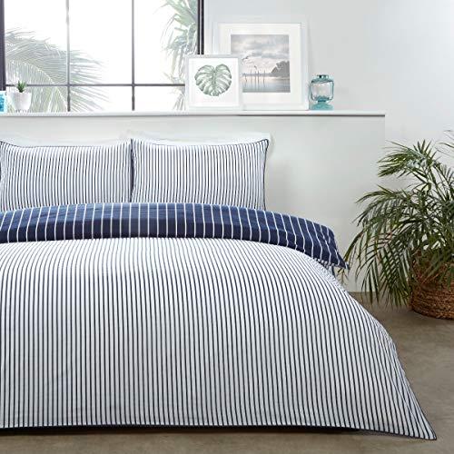 Sleepdown - Set di biancheria da letto con copripiumino e federe per letto king size, 220 x 230 cm, in policotone, colore: blu navy e bianco