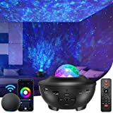 Star Projector Bluetooth Music Speaker, Night Light Galaxy Projector for Kids Adults ,Work with Alexa & Google Assistant,Star Light Projector for Bedroom Decor/ Ceiling/Party (Black)