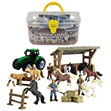 DINOBROS Horse Stable Playset Toys for Boys and Girls Ages 3 and Up Includes 8 Horses and Accessories 17 Piece Horse Stall Farm Set with Portable Case