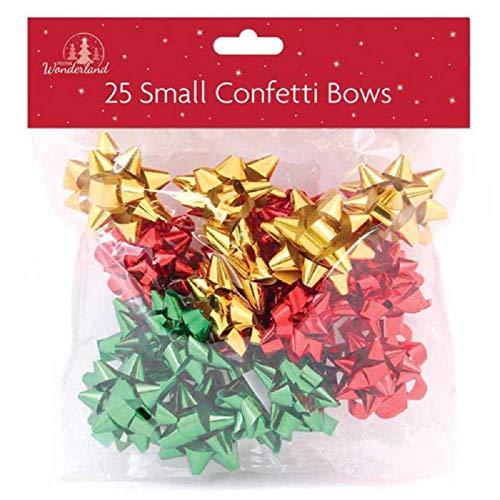 Tallon Christmas - 25 Lazos de Regalo, Verde, Rojo y Dorado para Navidad