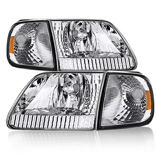 Headlight Assembly Compatible with 97-03 Ford F-150/04 Ford F-150 Heritage / 97-02 Ford Expedition Pickup Headlamp Driver and Passenger Side Driving Front Light Pair (Chrome)