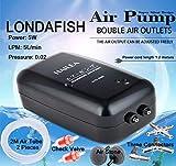 LONDAFISH Pompe à oxygène de Pompe à air Double Sortie Contrôle de débit réglable accrocable Volume...