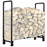KINGSO 4ft Firewood Rack Outdoor Heavy Duty Log Rack Firewood Storage Rack Holder Steel Tubular Easy Assemble Fire Wood Rack for Patio Deck Log Storage Stand for Indoor Outdoor Fireplace Tool
