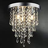 3 Lights Mini Crystal Flushmount Chandelier Fixture,Hong-in Crystal Ceiling Lamp, H10.4' X W9.84', Elegant Modern Flush Mount Ceiling Light for Bedroom, Hallway, Bar, Living Room, Dining Room, Chrome