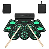 9 Pads Electronic Drum Set, Roll-up Portable Drum Kit with Built-in Dual Speaker, Foot Pedals/Drumstick, MIDI Drum Practice Pad Kit for Kids Teens & Adults Beginner, Best Birthday Christmas Gift