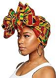 KENTE ANKARA Women Head Scarfs and Wraps Ladies African Print Turban Hats for Girls Ethnic Tribal (Green, Black and Orange)