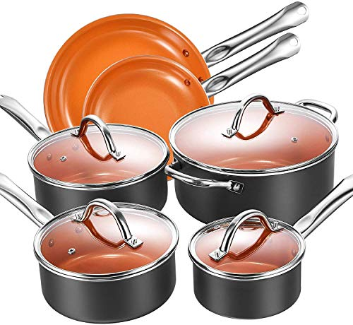 Aicook 10-Piece Cookware Set Pot and Pan Set Non-Stick Copper Induction Cookware with Professional Tempered Glass Lids, Solid Riveted Handles, 3 Layered and Spiral Bottom, Dishwasher Safe