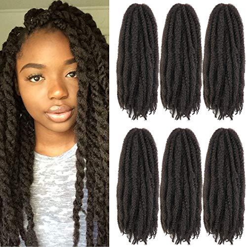 Wodun Marley Twist Hair Marley Hair for Twist Marley Twist Braid Hair Ombre Afro Kinky Braiding Hair 18 inches 6 Packs Maley Kinky Twist Hair for Braiding. (18 inch-6pacs, 4#)